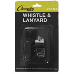 METAL WHISTLE & BLACK LANYARD PACK