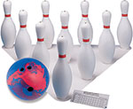 PLASTIC BOWLING BALL & PIN SET