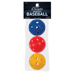 PLASTIC BASEBALL RETAIL PACK OF 3 ASSORTED COLORS